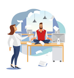 Stress relief in office work flat concept vector