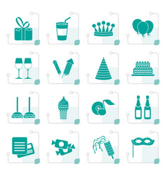 stylized birthday and party icons vector image