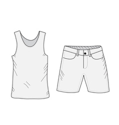 T-shirt and shorts sketch set vector image