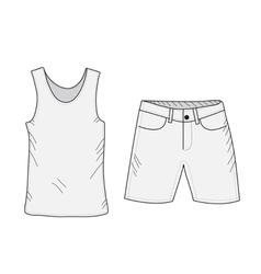 T-shirt and shorts sketch set vector