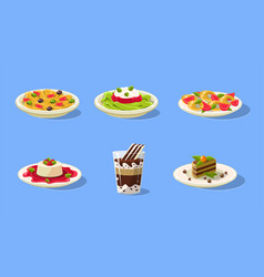 Tasty dishes set delicious food spaghetti vector