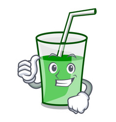 Thumbs up green smoothie character cartoon vector
