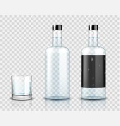 Transparent vodka bottle mockup realistic vodka vector