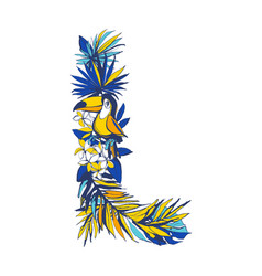 tropical floral summer letter l hand drawn vector image