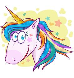 unicorn face cartoon on background vector image