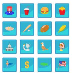 Usa icon blue app vector