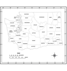 washington state outline administrative and vector image