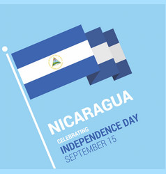 Waving 3d nicaragua flag happy independence day vector