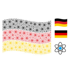 waving germany flag collage of atom items vector image