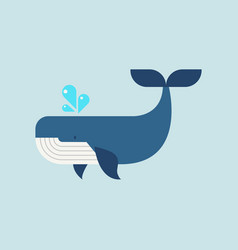 whale in flat style vector image