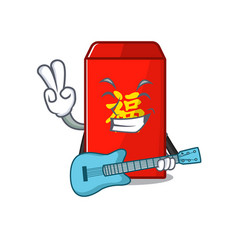 With guitar happy cartoon in red envelope vector