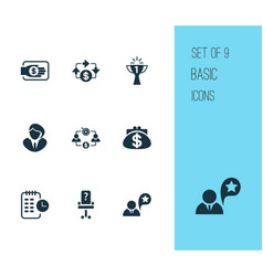 work icons set with business goal long-term plan vector image