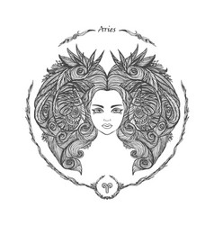 zodiac sign portrait of a woman aries vector image
