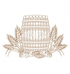 barrel with wheat vector image vector image