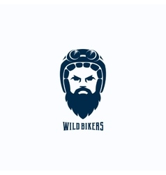 Flat Style Biker Face Abstract Logo vector image vector image