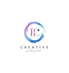 rc letter logo circular purple splash brush vector image vector image