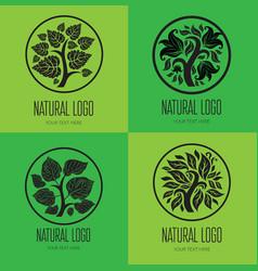 Set TREE logo 001 vector image vector image