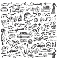 Cars auto repair - doodles vector