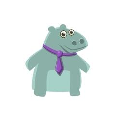 Hippo wearing neck tie vector