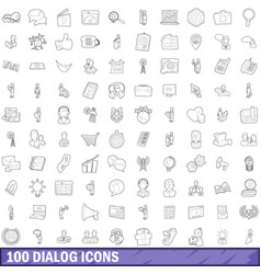 100 dialog icons set outline style vector