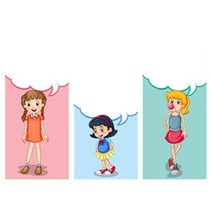 Label design with three girls vector image vector image