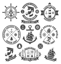 Set of vintage nautical labels and icons 2 vector image