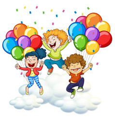 three happy kids with colorful balloons vector image