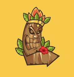 tiki tribal mask tiki bar banner vector image