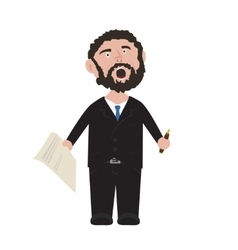 Unshaven Businessman shouting in black suit with vector image vector image