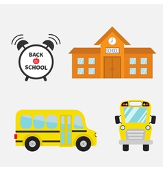 Back to school yellow bus set transportation alarm vector