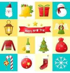 Christmas flat icons set vector image