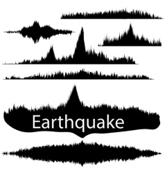 Earthquake wave on paper fixing audio wave set vector