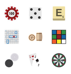 flat icon play set of poker arrow mahjong and vector image vector image