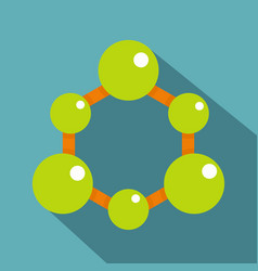 green molecule structure icon flat style vector image