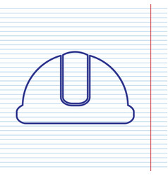 hardhat sign navy line icon on notebook vector image vector image
