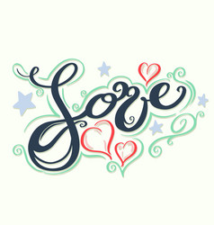 love with hearts drawn vector image vector image