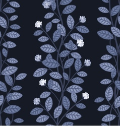 Seamless floral pattern on blue background vector image