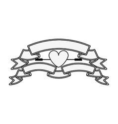 silhouette with set labels and heart vector image