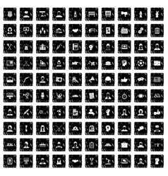 100 team work icons set grunge style vector