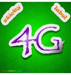 4G technology icon sign Symbol chic colored sticky vector