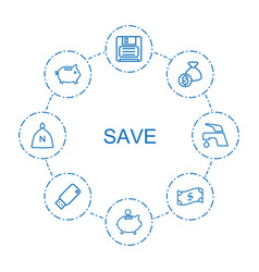 8 save icons vector