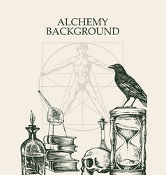 Alchemy background with drawings in vintage style vector