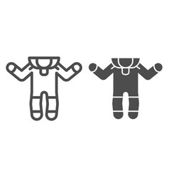 Baby romper line and glyph icon baby suit vector