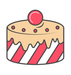 Baked cake isolated icon vector