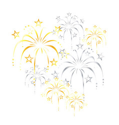 Beautiful gold silver stylized fireworks vector