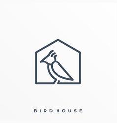 Bird with house line art design concept template vector