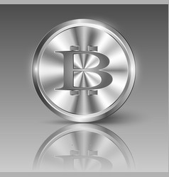 Bitcoin logo on shiny metal circle vector