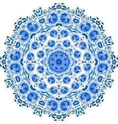Blue floral ornament circle vector image