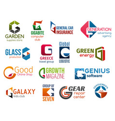 Business icons letter g corporate identity vector