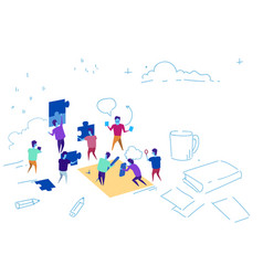 business people putting puzzle pieces team working vector image